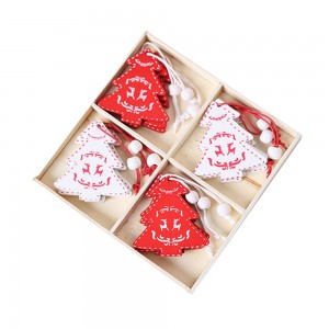 1Box 12pcs Christmas Tree Ornaments with Wooden Box