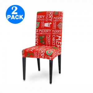 2Pcs Christmas Chair Cover Elastic Chair Slipcovers