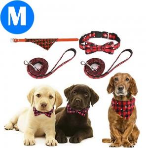 2 X Christmas Xmas Pet Collar with Leash Style 1 Style 2 Medium
