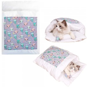 Japanese Style Cat Bed with Pillow Pet Sleeping Bag Style 4 Small