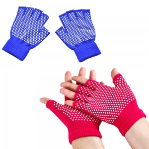 Two Pairs of Unisex Yoga Pilates Finger Exercise Grip Gloves-Blue and Rose