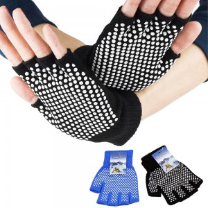Two Pairs of Unisex Yoga Pilates Finger Exercise Grip Gloves-Blue and Black