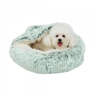 Medium Pet Dog Cat Calming Bed Plush Cushioned Hooded Pet Bed Warm Soft Plush Round Nest Sleeping Kennel Cave Green