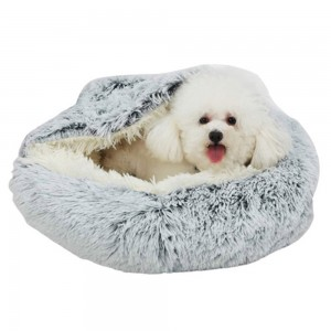 Medium Pet Dog Cat Calming Bed Plush Cushioned Hooded Pet Bed Warm Soft Plush Round Nest Sleeping Kennel Cave Grey
