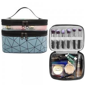 1 X Blue 2 Layers Makeup Bag Travel Cosmetic Storage Bag