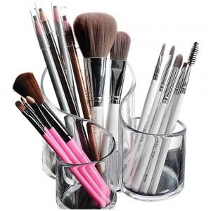 3 Compartment Makeup Organizer Makeup Brushes Stand Transparent Home Decor