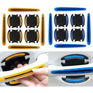 16Pcs Car Door Handle Reflective Sticker Car Decor Blue Yellow