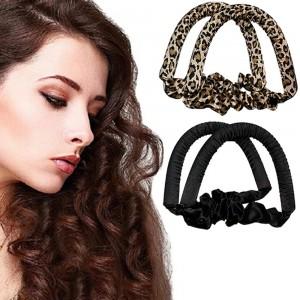 2 X Leopard Black Heatless Hair Curl Ribbon Non Iron Lazy Hair Curling Tools