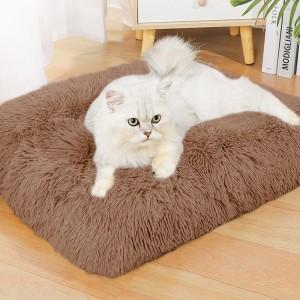 1 x XL Coffee Rectangle Long Plush Pet Bed Warm Plush Sleeping Mat for Dog Cat
