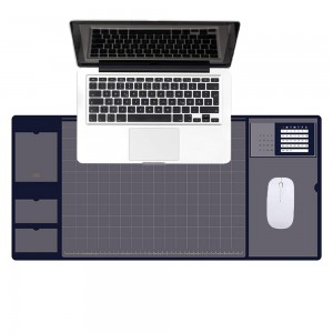 Blue Office Mouse Mat with Waterproof PVC Cover and Visible Pocket for Card
