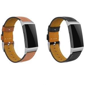 2 X Black Brown Non-Branded Genuine Leather Band Compatible for Fitbit Charge 3