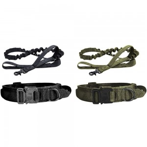 2 X XL Black Green Tactical Dog Collar and Leash Sets