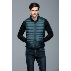 Mens Stand-up Collar Vest K-6005 Bluish-green