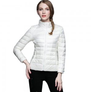 Womens Stand-up Collar Jacket K-6002 White