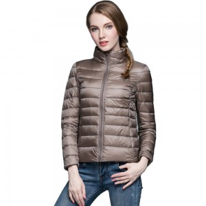 Womens Stand-up Collar Jacket K-6002 Coffee
