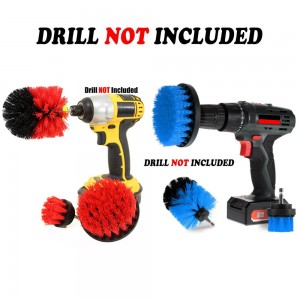 6PCS Universal Drill Power Heavy Duty Brush Cleaning Set Red Blue