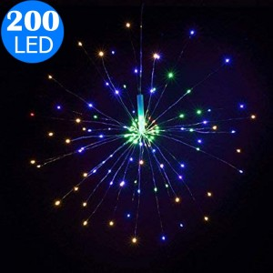 Waterproof 40 Branches 200LED Solar Power Hanging Starburst Lights LED Fireworks Lamp Multicolor