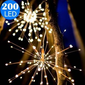 Waterproof 40 Branches 200LED Solar Power Hanging Starburst Lights LED Fireworks Lamp Warm White