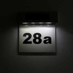 4LED Solar Powered Doorplate Number Sign Lights