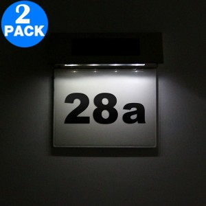 2 X 4LED Solar Powered Doorplate Number Sign Lights