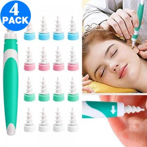 4 X Spiral Ear Wax Remover Tools with 64PCS Disposable Tips Sets