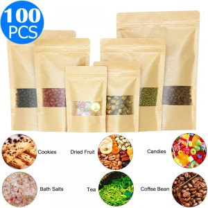 100 X Resealable Kraft Paper Zip Lock Pouches Self Sealing Zipper Food Storage Bags with Visible Window 5 Sizes