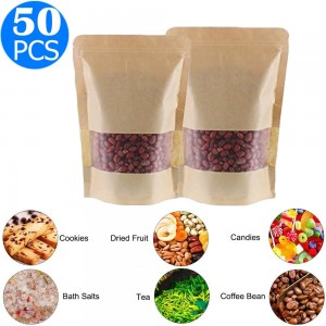 50 X Resealable Kraft Paper Zip Lock Pouches Self Sealing Zipper Food Storage Bags with Visible Window Same Sizes 15x22 and 16x26