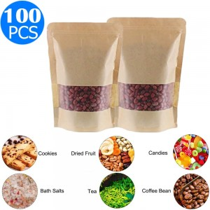 100 X Resealable Kraft Paper Zip Lock Pouches Self Sealing Zipper Food Storage Bags with Visible Window Same Sizes 15x22 and 16x26