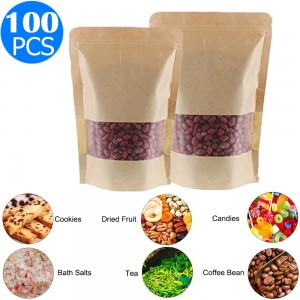 100 X Resealable Kraft Paper Zip Lock Pouches Self Sealing Zipper Food Storage Bags with Visible Window Same Sizes 16x26 and 20x30