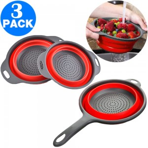 1 X Round Kitchen Collapsible Colanders and Strainers with Handles and 2PCS Round Kitchen Collapsible Colanders and Strainers Set Red