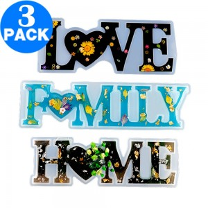 3 X DIY Letter Love Home Family Sign Resin Craft Casting Silicone Mold