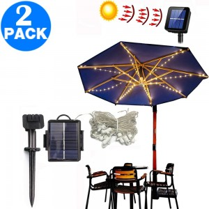 2 X 104LED Outdoor Solar Powered String Lights for Patio Umbrella Christmas Decoration
