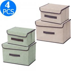 4PCS Foldable Collapsible Storage Cubes Bin Closet Organizer Basket Storage Boxes with Dustproof Lid Beige Green
