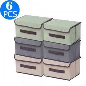 6 X Foldable Collapsible Storage Cubes Bin Closet Organizer Basket Storage Box with Dustproof Lid Small