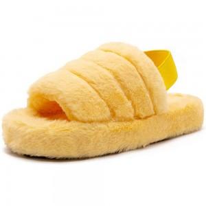 Womens Fluffy Open Toe House Slide Slipper Sandal Spa Bedroom Shoes Yellow