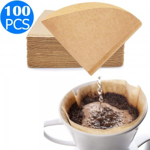 100PCS Disposable Coffee Filter Paper Brown Size 02 for V60 Coffee Dripper 1-4 Cup