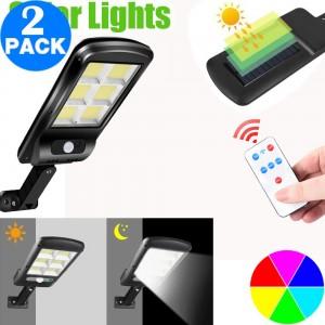 2 Pack 100 128 120COB Remote Control Outdoor Security Solar Powered Lights PIR Motion Sensor Lamp