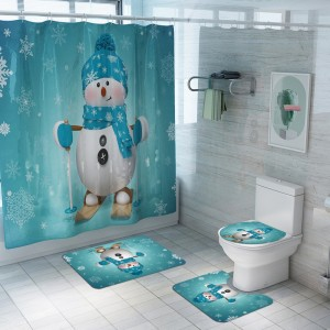 Christmas Printed Shower Curtain and Toilet Lid Cover and Bath Mat and Bathroom Rug Set Style 6