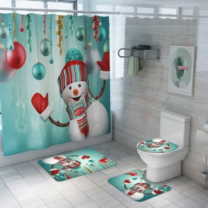 Christmas Printed Shower Curtain and Toilet Lid Cover and Bath Mat and Bathroom Rug Set Style 7