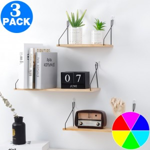 3 X Floating Shelves Hanging Shelf Wall Mounted Home Decor Organizer Rack for Living Room Bedroom Bathroom Kitchen