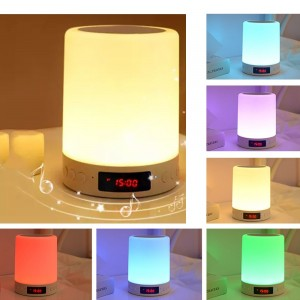 3 In 1 Bluetooth Speaker with Colour Changing LED Light and Alarm Clock Bedroom Lamp