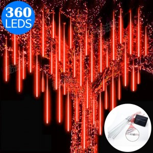 10 Tube 360 LEDs Solar Powered Lights Christmas Decoration Lamps Meteor Shower Rain Lights for Christmas Holiday Party Home Patio Party Red