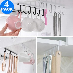 4 X Kitchen Under Cabinet Hanger Rack Mugs Shelf with 6 Hooks
