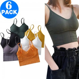 6 X Women Summer Bra with Pads Basic Crop Top without Underwire One Size