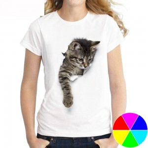 Women 3D Cat Print Tee Cute Round Neck Short Sleeve T Shirt