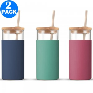 2 X Glass Tumbler Glass Water Bottle with Silicone Protective Sleeve Straw and Lid