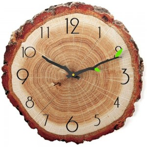 12 Inch Annual Ring Wall Clock Creative Battery Operated Silent Clock Home Decorative for Kids Room Living Room Style 2