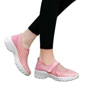 Women Summer Breathable Mesh Light Shoes Wedge Platform Walking Shoes Pink