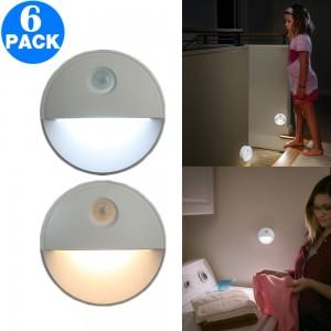 6 Pack 2LEDs Motion Sensor Night Light for Stairs Cabinet Kitchen Bedroom