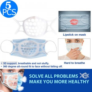 5PCS Reusable 3D Face Cover Bracket Washable Silicone Face Cover Support Frame Face Cover Inner WITHOUT FACE COVER